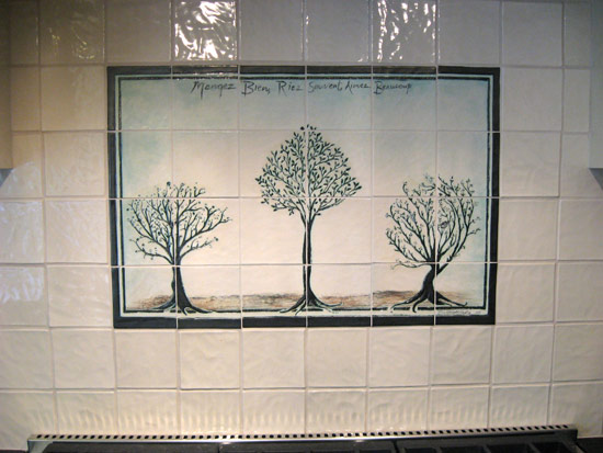 handpressed tile backsplash